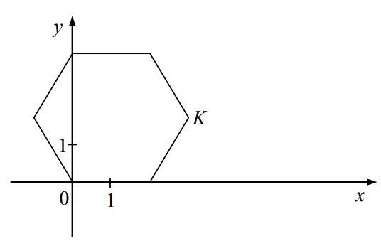 W układzie współrzędnych narysowano sześciokąt foremny o boku 2