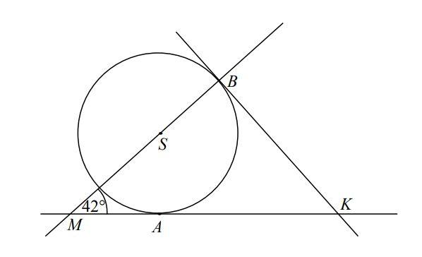 Proste KA i KB są styczne do okręgu o środku S w punktach A i B,