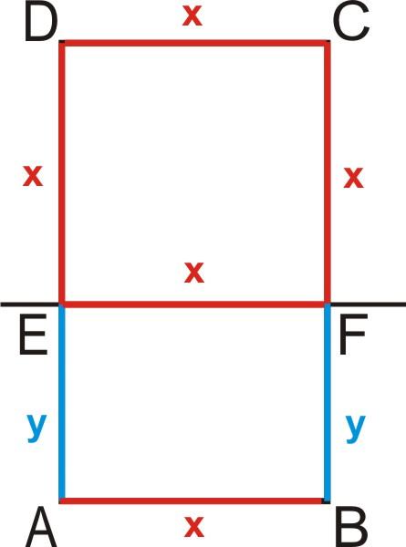 Prosta EF dzieli prostokąt ABCD na kwadrat EFCD