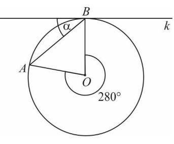 Na rysunku przedstawiono okrąg o środku O oraz kąt środkowy o mierze 280°