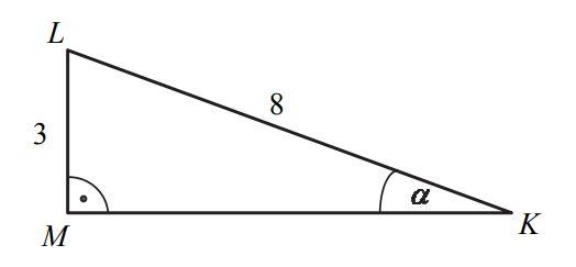 Przyprostokątna LM trójkąta prostokątnego KLM ma długość 3, a przeciwprostokątna KL ma długość 8