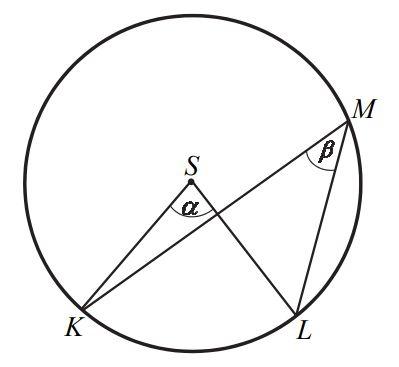 Dany jest okrąg o środku S. Punkty K, L i M leżą na tym okręgu