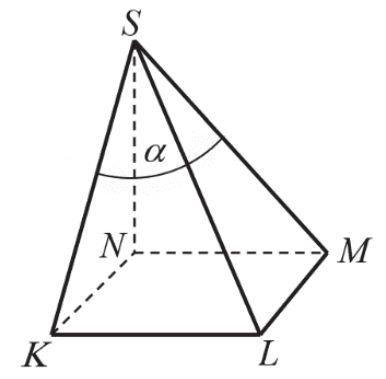 Podstawą ostrosłupa jest kwadrat KLMN o boku długości 4