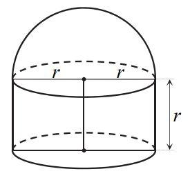 Na rysunku przedstawiono bryłę zbudowaną z walca i półkuli.