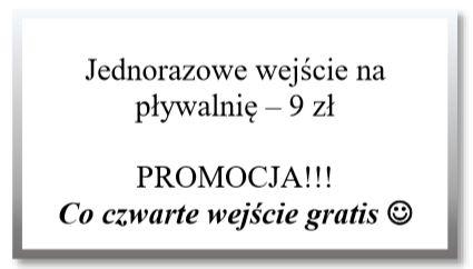 Jednorazowe wejście na pływalnię - 9 zł PROMOCJA!!! Co czwarte wejście gratis