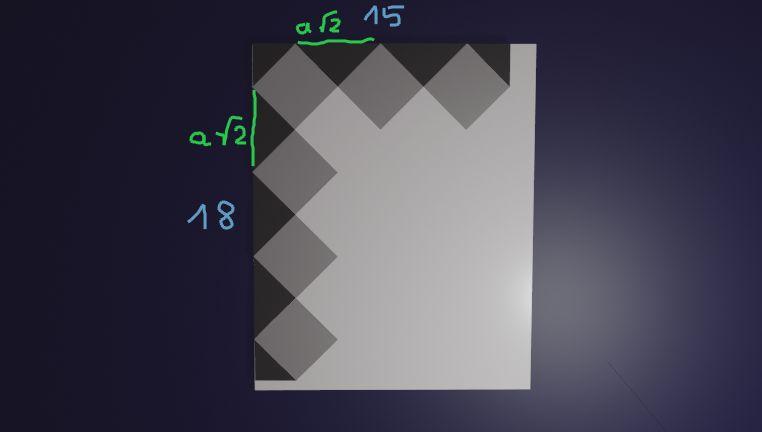 Agata postanowiła przygotować kartkę okolicznościową w kształcie prostokąta, ozdobioną wzorem dokładnie takim, jak przedstawiony na rysunku.