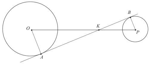 matura poziom podstawowy 2019 zadanie 15: Dane są dwa okręgi: okrąg o środku w punkcie O i promieniu 5 oraz okrąg o środku w punkcie P i promieniu 3. Odcinek OP ma długość 16. Prosta AB jest styczna do tych okręgów w punktach A i B. Ponadto prosta AB przecina odcinek OP w punkcie K (zobacz rysunek).