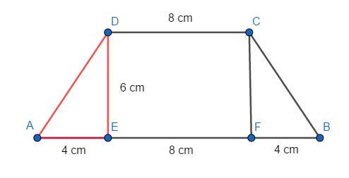 Trapez równoramienny ABCD, którego pole jest równe 72 cm<sup>2</sup>, podzielono na trójkąt AED i trapez EBCD. Odcinek AE ma długość równą 4 cm, a odcinek CD jest od niego 2 razy dłuższy. Oblicz pole trójkąta AED. Zapisz obliczenia.