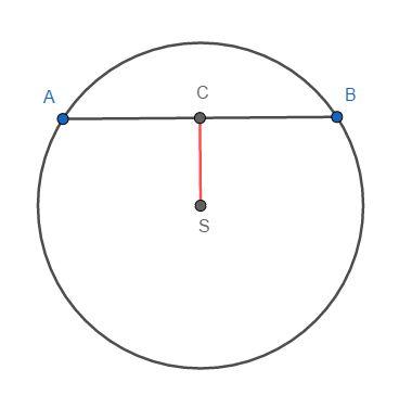 Okręg o środku S i promieniu 5 cm z narysowaną cięciwę AB o długości 8 cm.